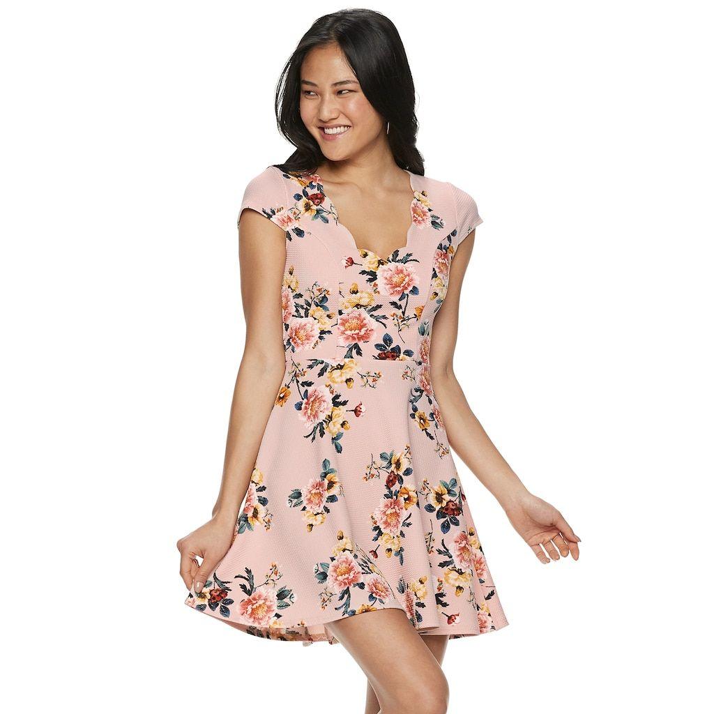 33f823f6 Juniors' Three Pink Hearts Floral Skater Dress, Teens, Size: Medium, Light  Pink