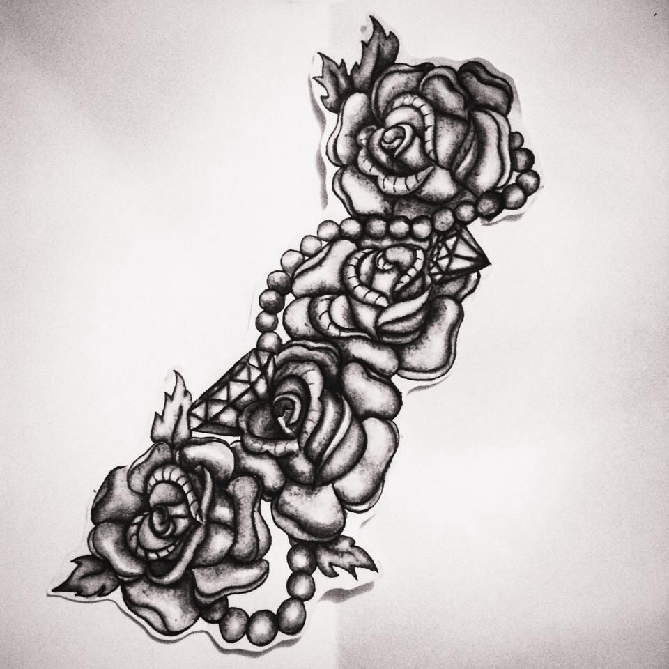 Tattoo Design Roses Pearls And Diamonds Tattoos Pinterest