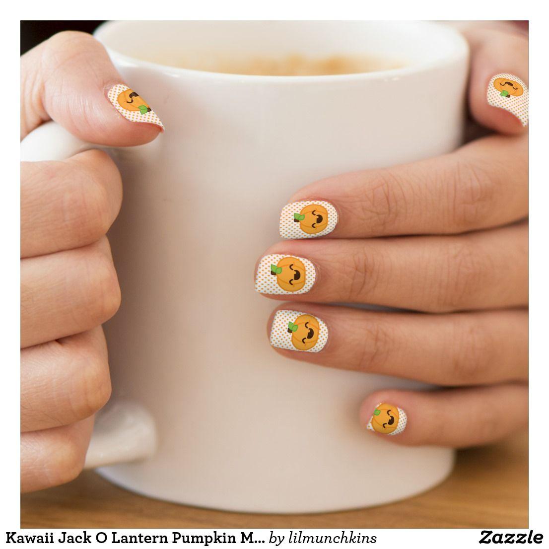 Kawaii Jack O Lantern Pumpkin Minx Nail Art | Zazzle.com ...