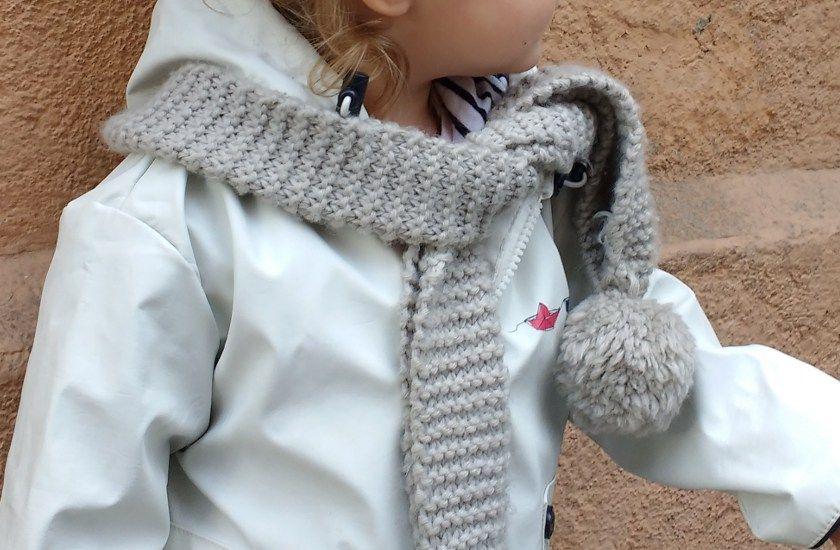 tricoter une echarpe debutant point mousse