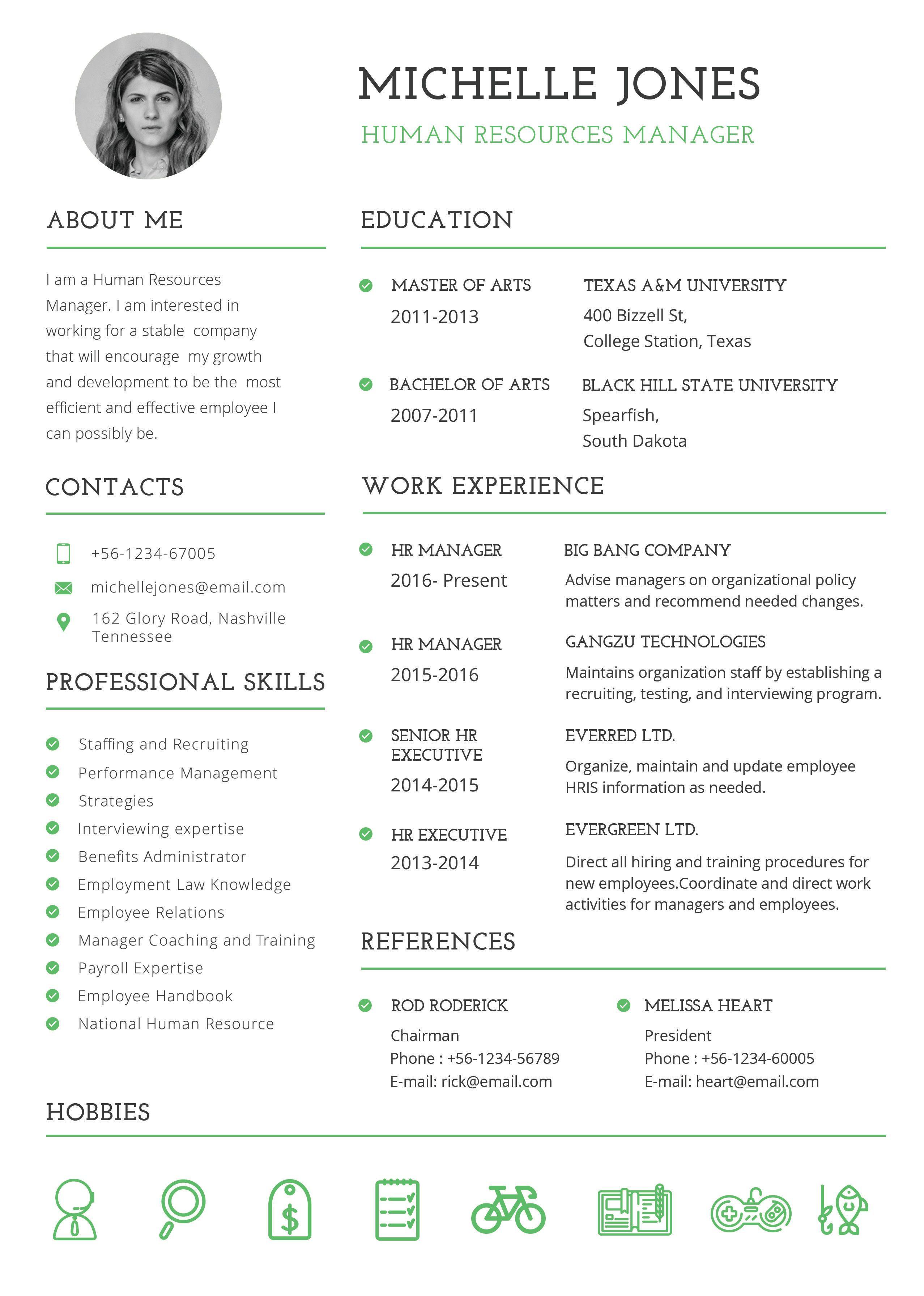 Free Professional HR Resume Hr resume, Resume template