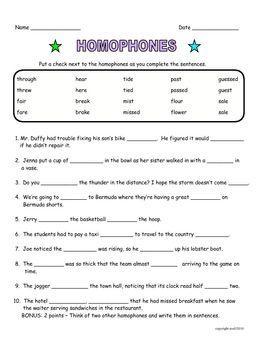 Homophones Activity Word Skills Teaching Writing Homophones Activity