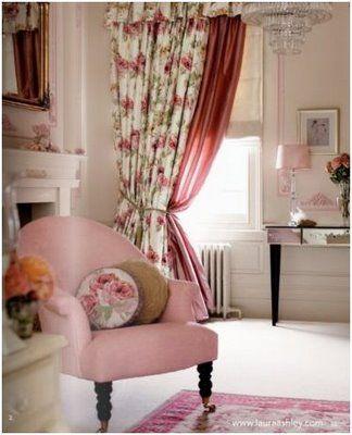 Laura Ashley Rose Pink Fauteuil Romantique Shabby Chic Decor