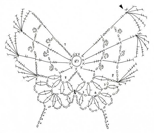 (Braided Illustrated, butterfly, butterfly) motif of butterfly: Crochet a little