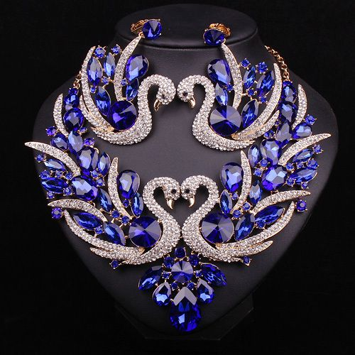 Beautiful Blue Crystal Bridal Jewelry Set Gold Plated Dubai Women