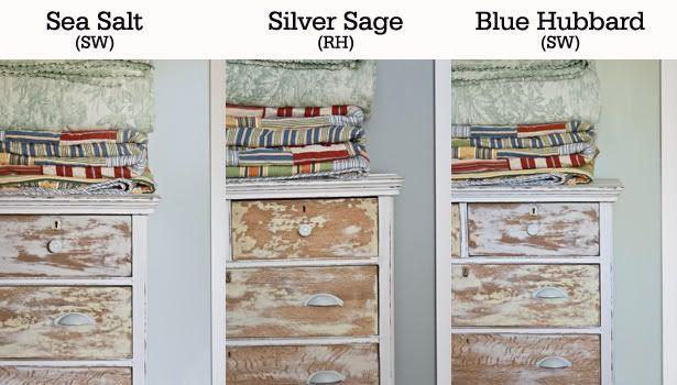 Sea Salt- Sherwin Williams, Silver Sage- Restoration Hardware, and Blue Hubbard- Sherwin Williams