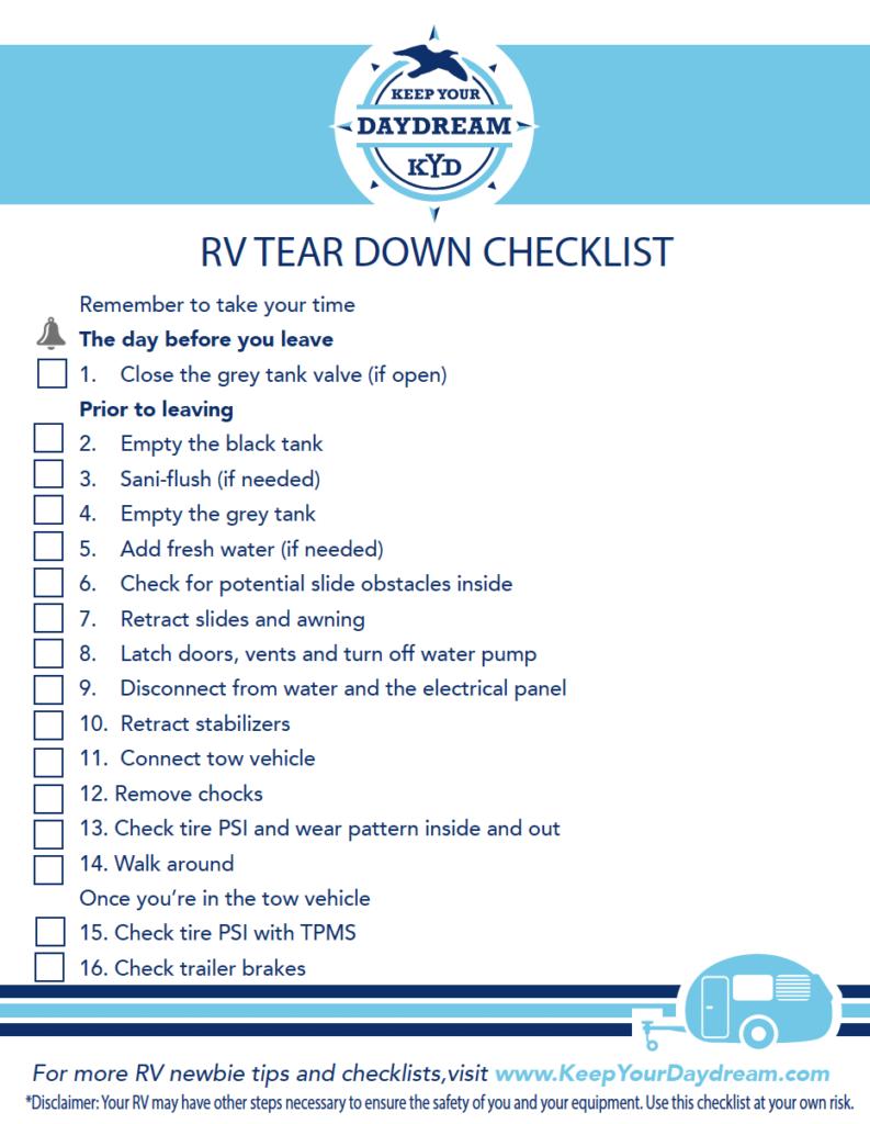 Rv Newbie Tear Down Checklist If You Haven T Seen Our Rv Newbie Setup Video And Checklist Check It Out Now In Tha In 2021 Rv Camping Checklist Checklist Rv Checklist
