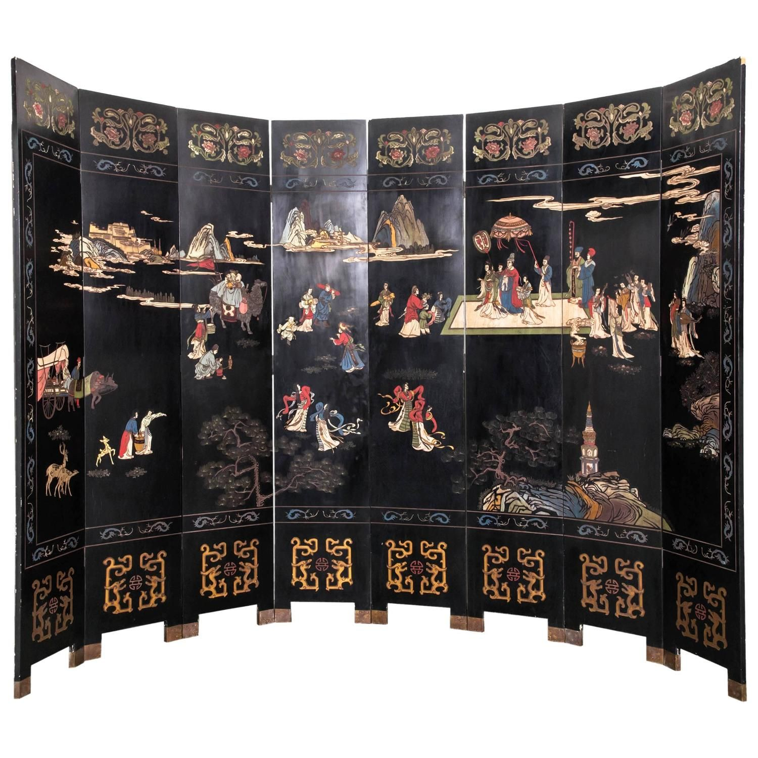 eight panel chinese lacquered screen screens dressing screen and