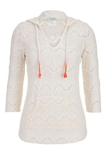 open crochet hooded pullover with ombre rope ties #maurices