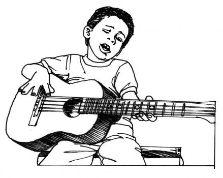 Boy Plays Guitar Coloring Pages For Boys Boy Coloring Coloring