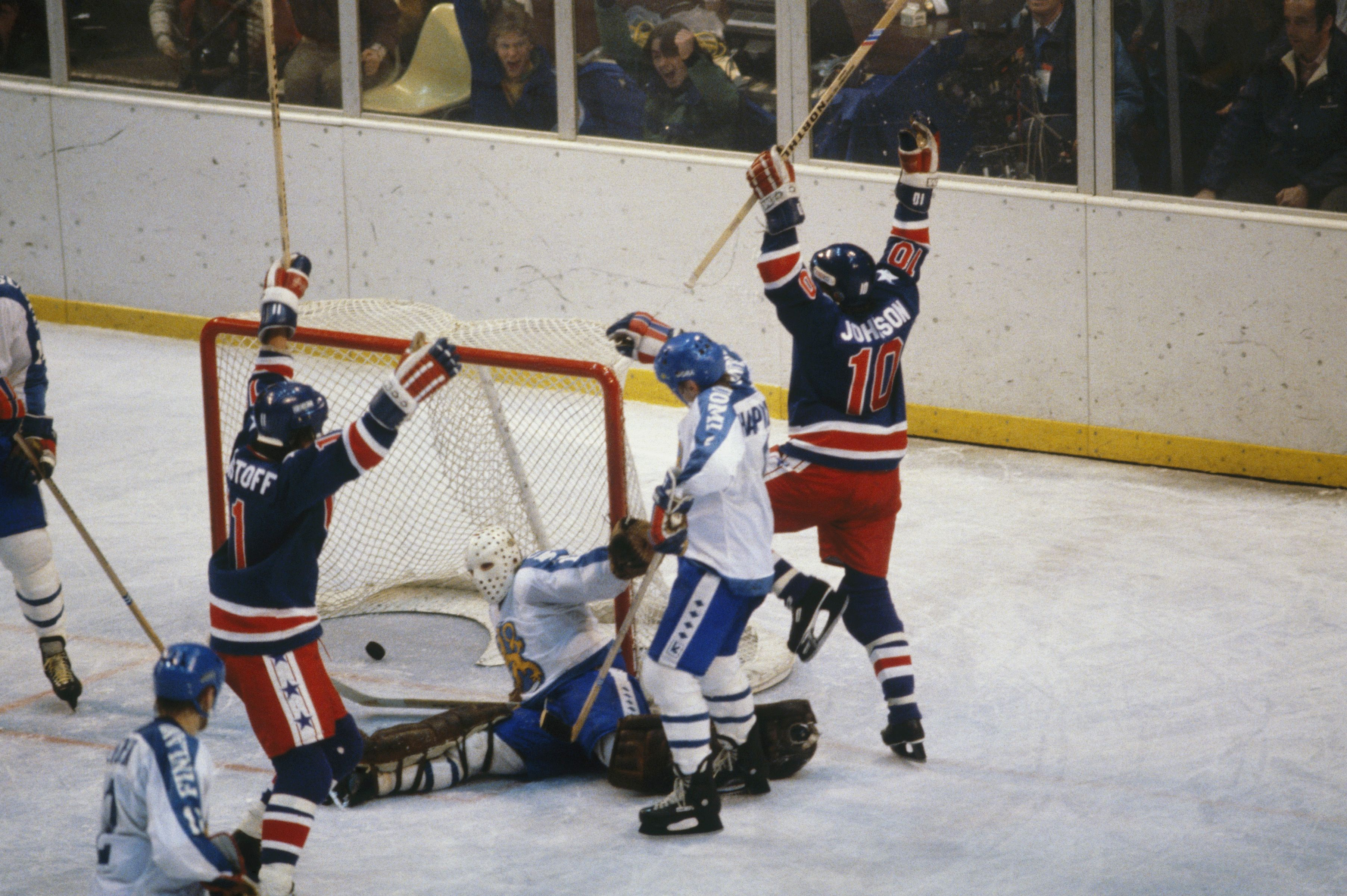 Johnson Right And Teammate Steve Christoff Celebrate A Goal Against Opposing Team Finland In The Ice Hocke Lake Placid Olympics Hockey Finals Olympic Hockey