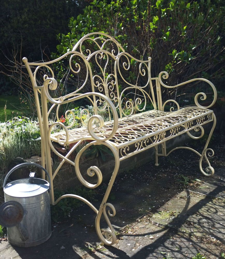 French Style Bench In Antique Cream