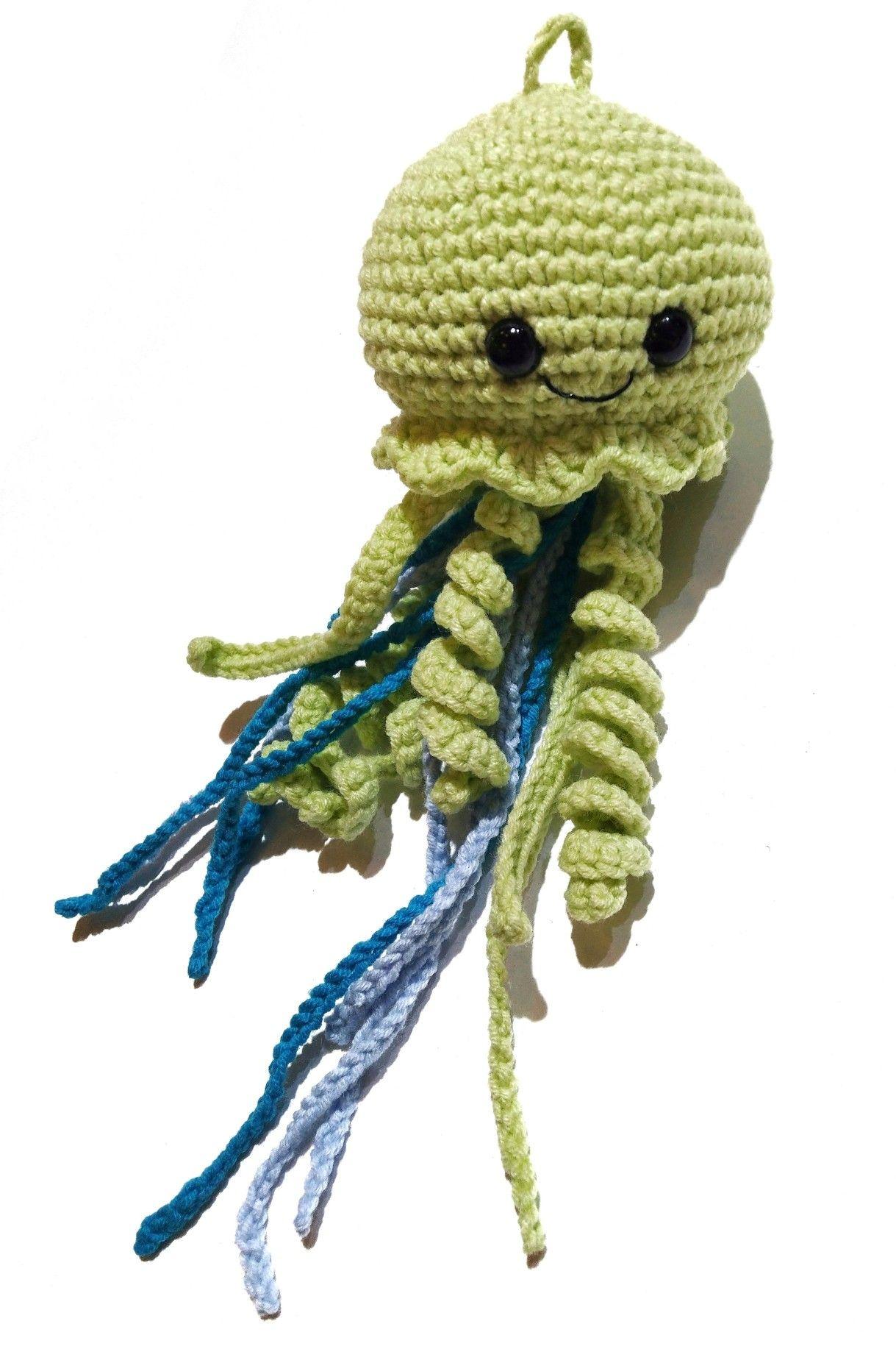 Light green jellyfish keychain, blue soft toy jellyfish