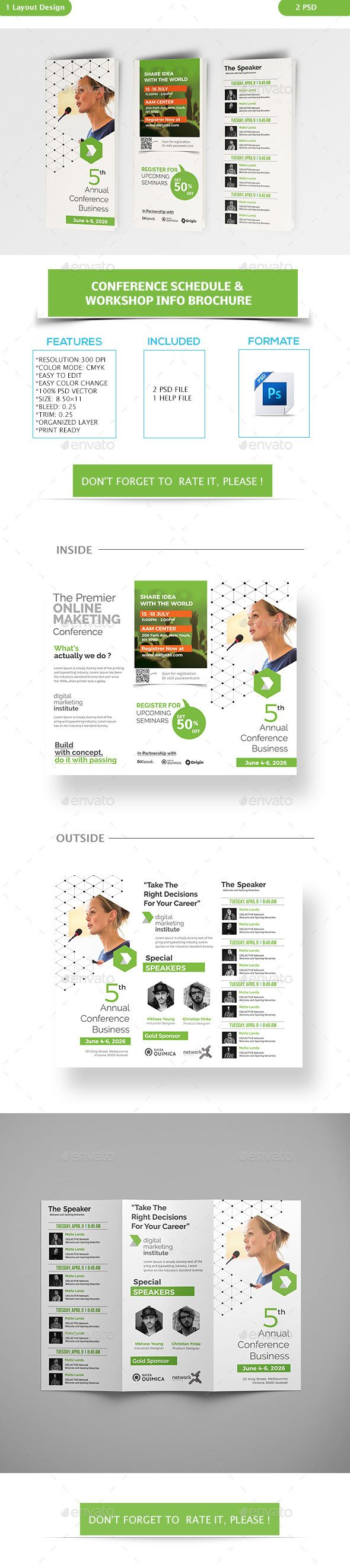 Conference Schedule Workshop Info Brochure Template PSD Download - Workshop brochure template