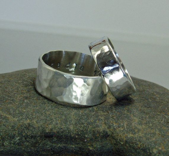 Wedding Bands His And Hers Thick Silver Rings Chunky Band Hammered