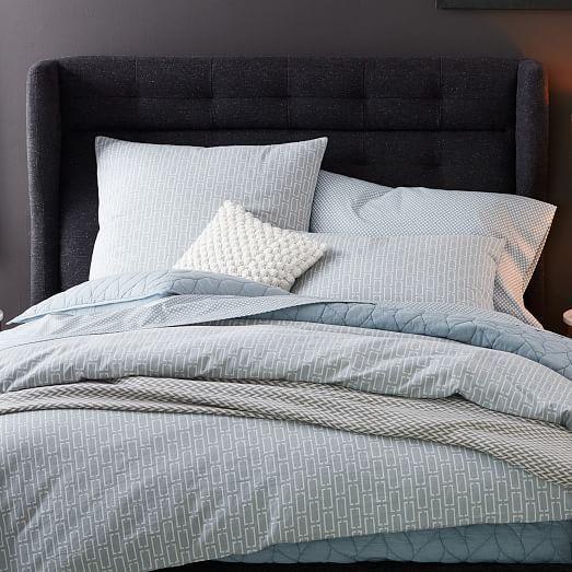 James Harrison Winged Bed - Full, Asphalt Tweed
