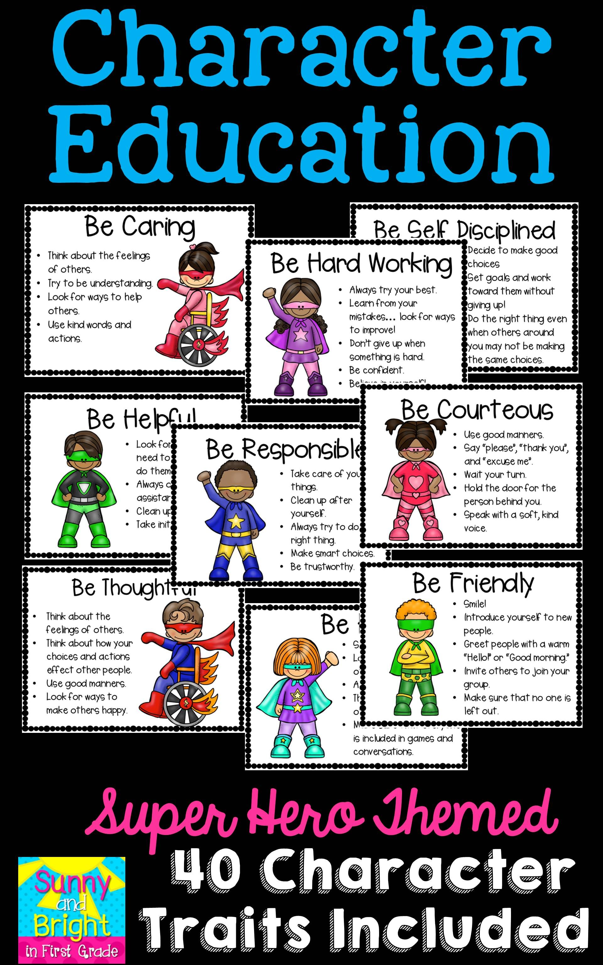 Superhero Themed Character Education Posters | Character education ...