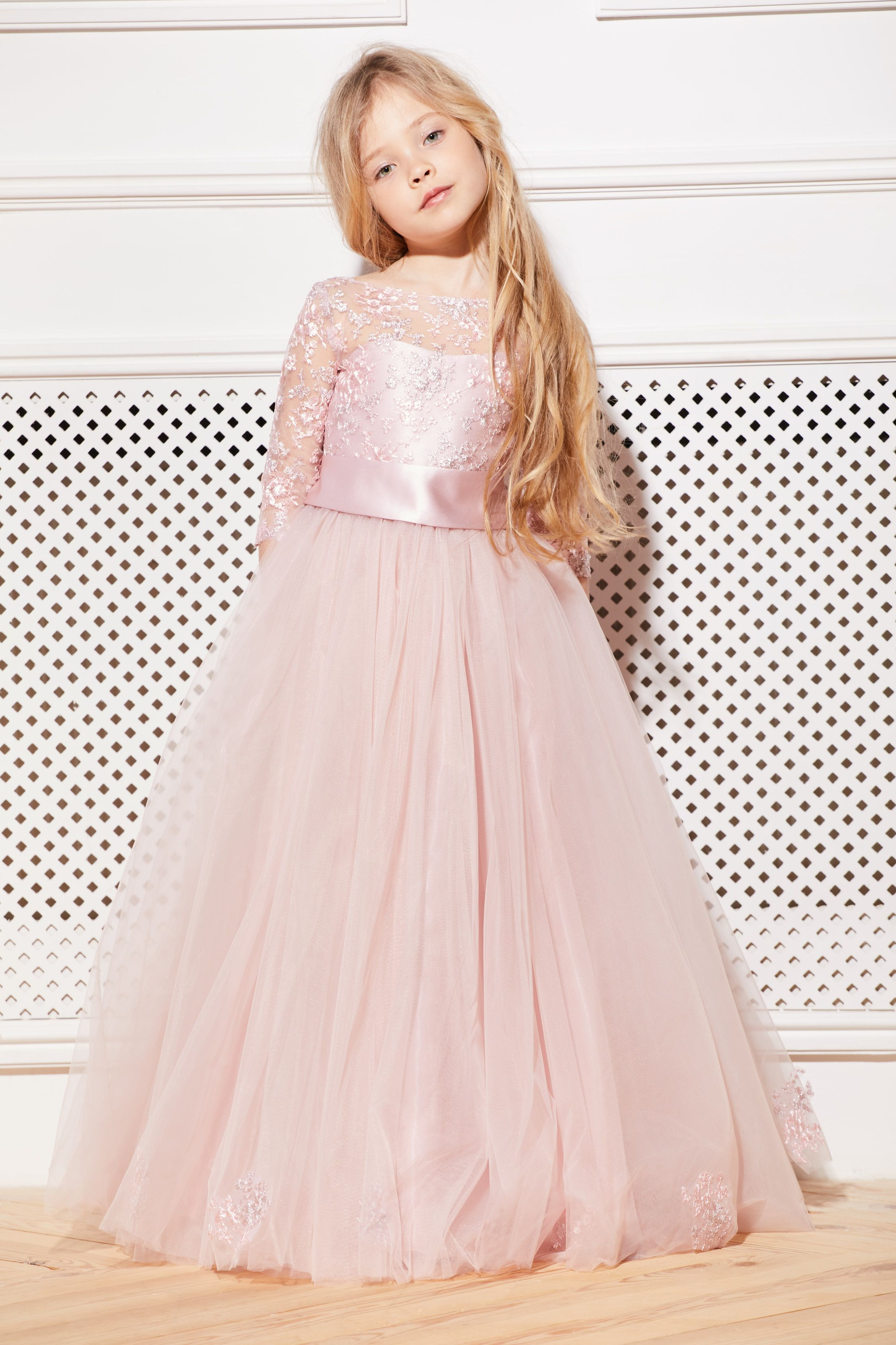 19dc892ce Blush Flower Girl Dress Cream Tulle Pink Tutu Birthday Wedding Kids Guipure  Rose Lace Satin Junior Bridesmaid Ballerina Baby Formal Party