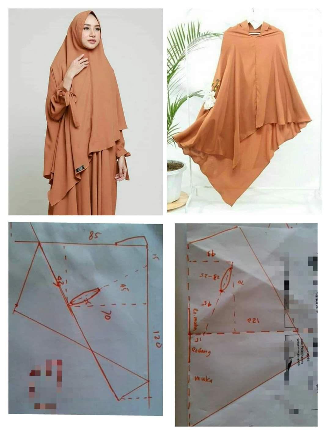 Pembuatan pola hijab di 9  Model pakaian muslim, Baju muslim