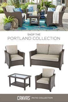 Marvelous This Quaint CANVAS Portland Collection Patio Loveseat Is Ideal For Quiet  Times Spent In The Garden