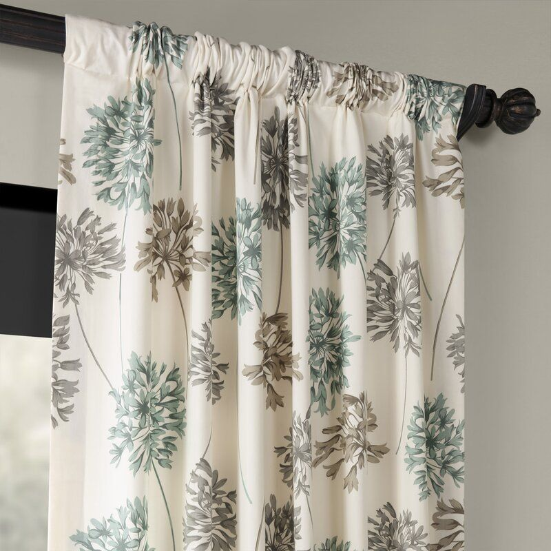 Allium Printed 100 Cotton Floral Rod Pocket Single Curtain Panel Printed Cotton Curtain Blue Grey Curtains Brown Curtains