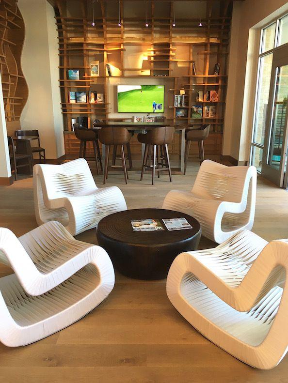 Eggshell Home - Pasea Hotel Spa Lobby Beach Modern Rocker Wood Bar and Stools