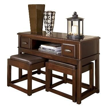 Sofa Table With Nesting Ottomans Hom Furniture Fireplace