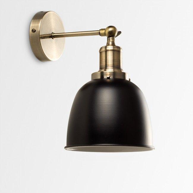 styles of lighting. Vintage Style \u0027Wilhelm\u0027 Antique Brass Wall Light With Black Shade - Off Styles Of Lighting