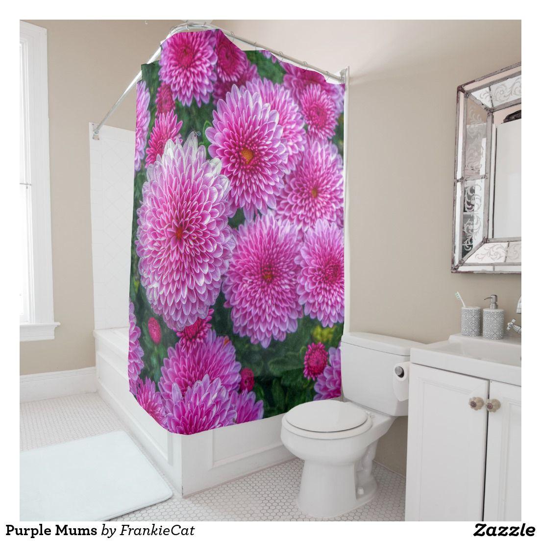 Purple mums shower curtain