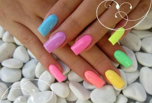 Neon Rainbow Nails Rainbow Nails Neon Nails Nail Designs