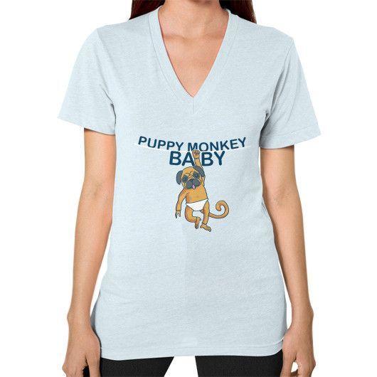 Puppy Monkey Baby Shirt V-Neck (on woman) Shirt