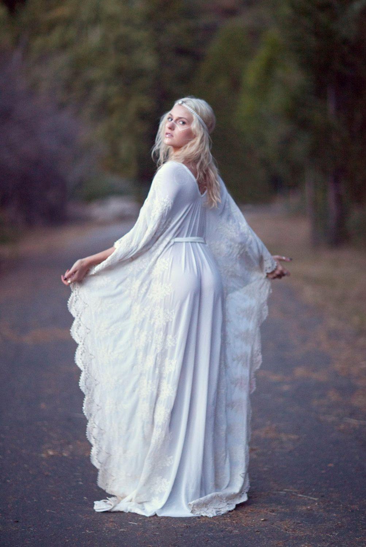 "Bohemian Wedding Dress  Hippie Bohemian Gown Cream Ivory Chiffon Kaftan Crochet Lace - ""Tatum"" by DaughtersOfSimone on Etsy"