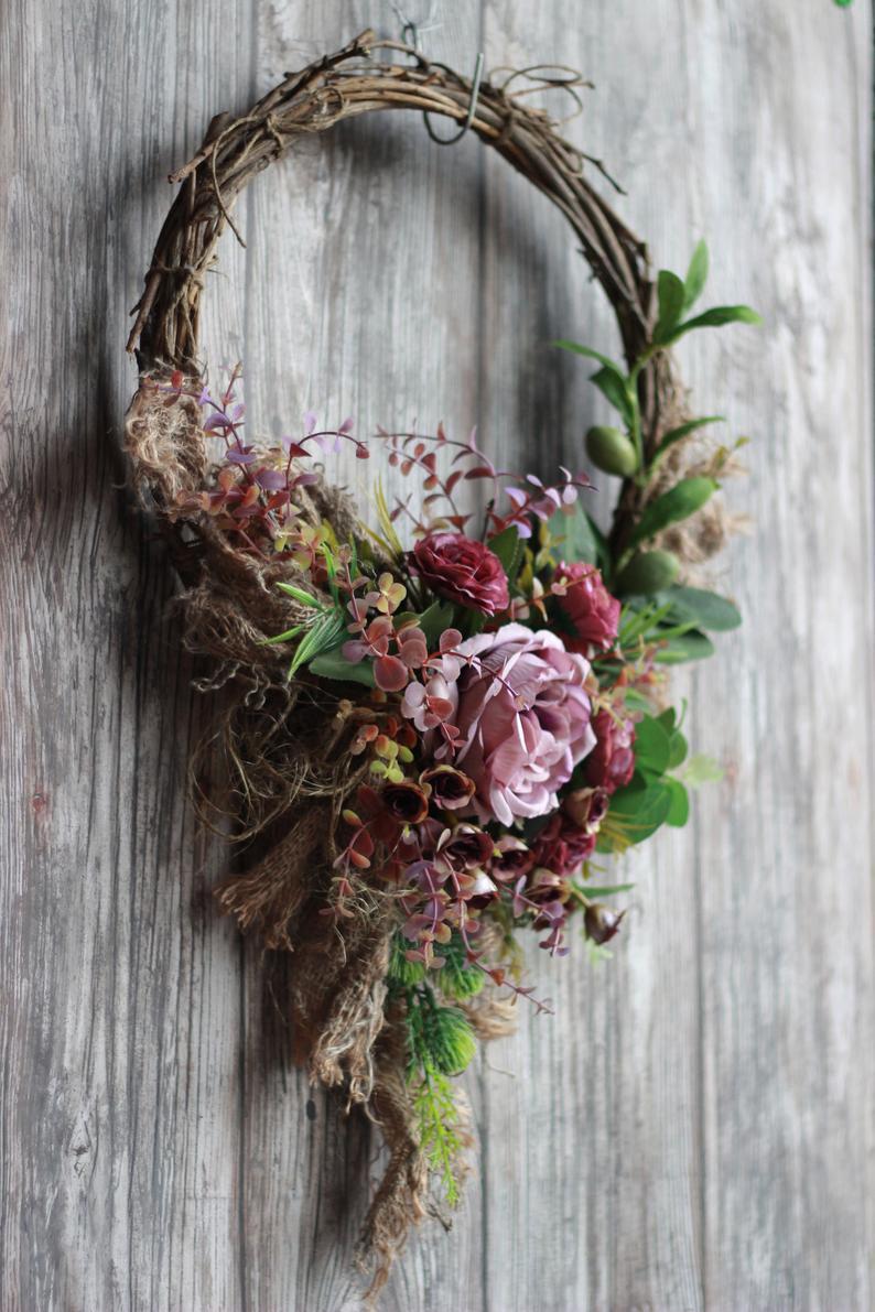 Photo of Ghirlande di rose lilla per tutto l'anno porta d'ingresso Corona di fiori di seta moderna