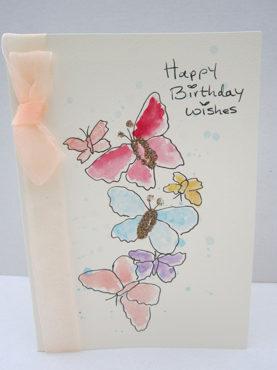 Butterflies Watercolour Card Hand Painted Card Birthday Etsy Hand Painted Card Watercolor Cards Butterfly Birthday Cards