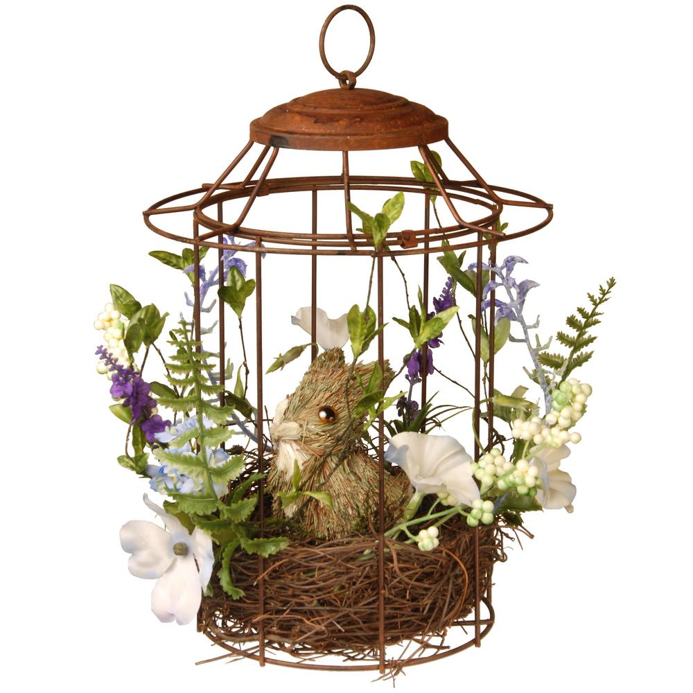 National Tree Company 12 in. Easter Bird cage with Rabbit-RAE-F030103A - The Home Depot