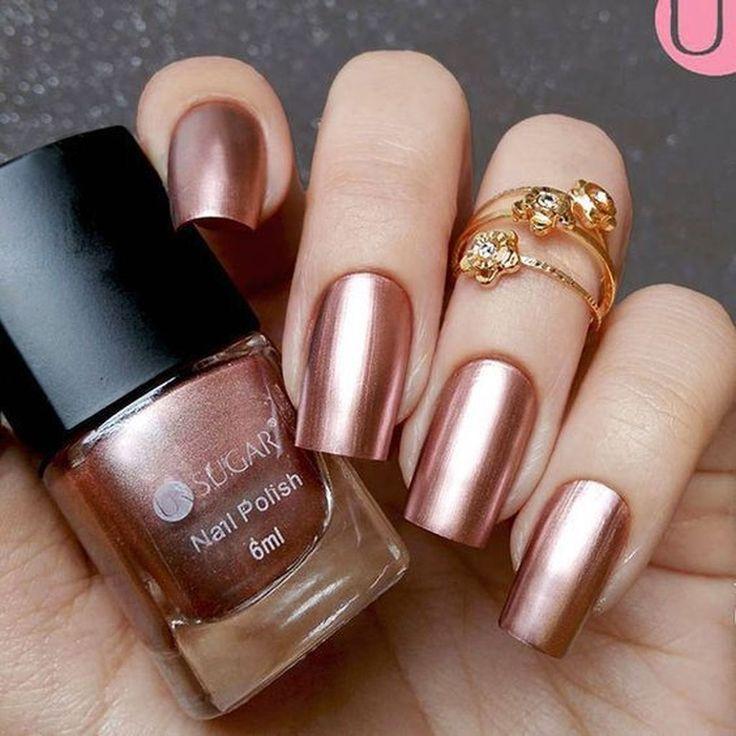 47 Wunderschöne Rose Gold Nail Design Sommer für hübsche Bräute