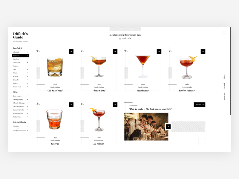 Cocktail's Homepage. Concept