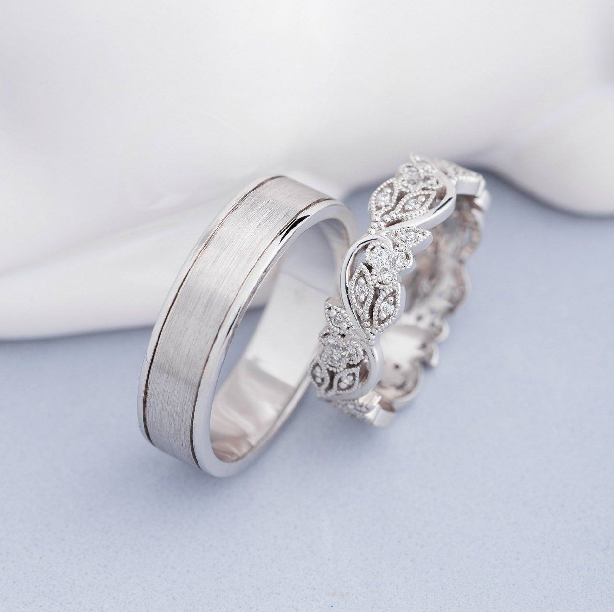 Unique matching wedding bands with diamonds. Couple