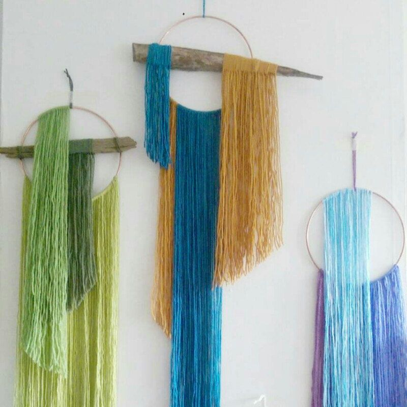 We now have some scrummy wall hangings made with yarn that are available...come take a look!