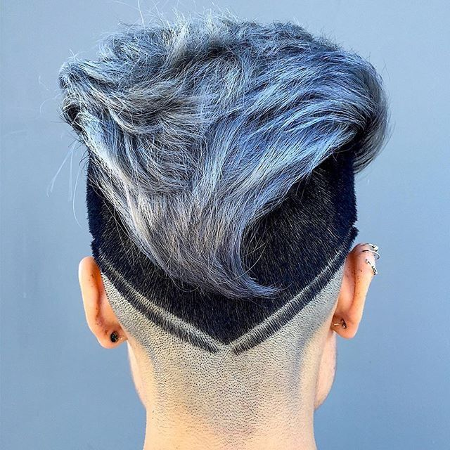 V Cut Mohawk Dark Sides Ice Blue Gray Color Hairstyle Do That Hair