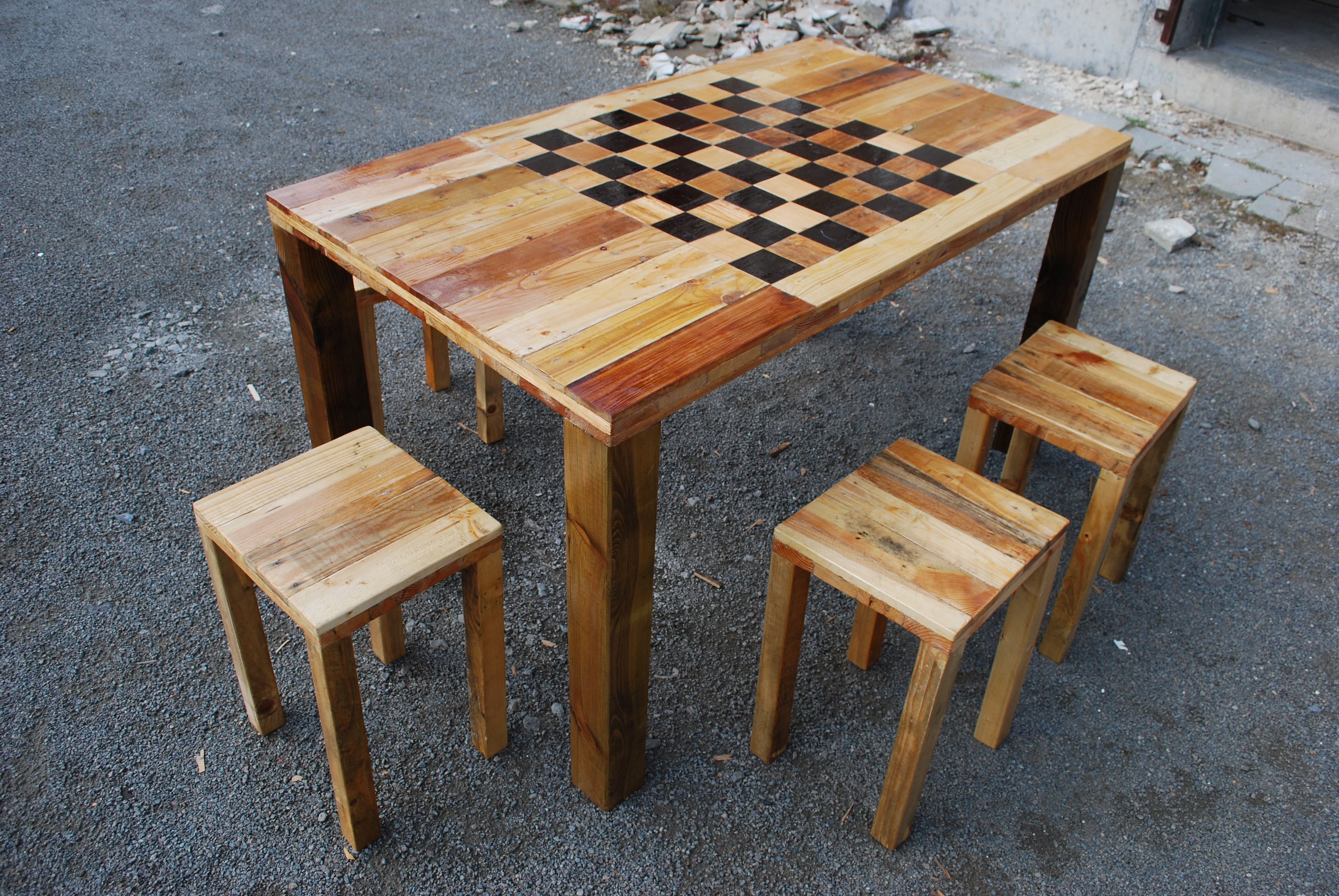 Chess Table Made Out Of Pallets Reclaimed Wood