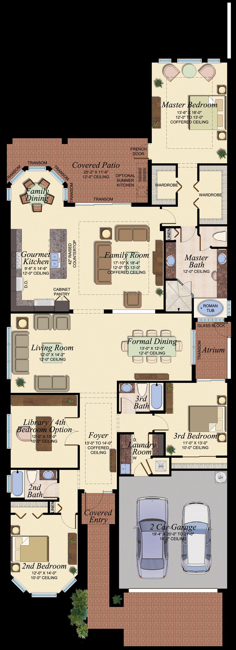 Coronado 502 Floor Plan Houses Courtyard House Plans