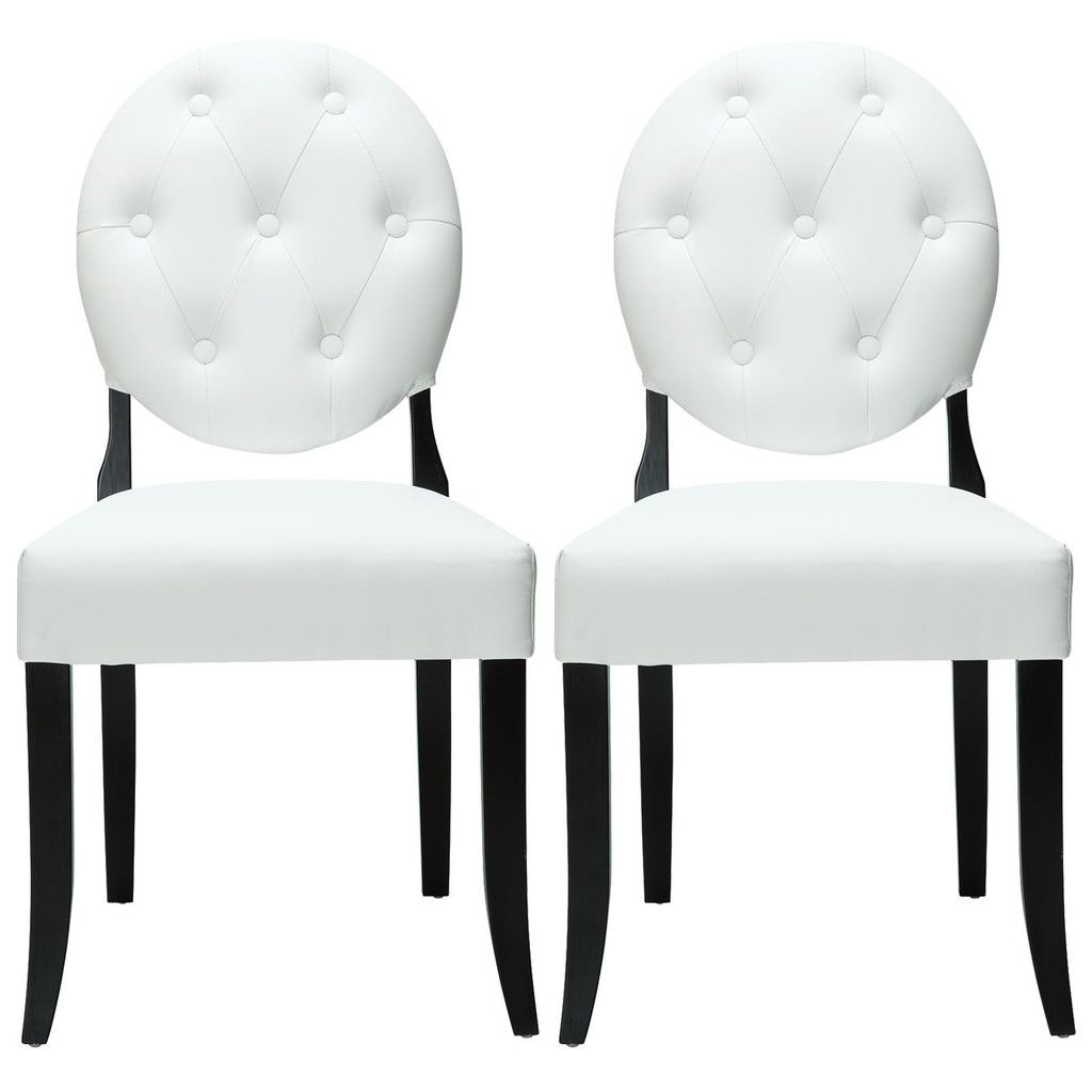 Modway Button Dining Chairs Set of 2 - White (With images) | White dining chairs, Side chairs ...