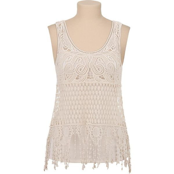 Crochet tank with fringe ($29) found on Polyvore