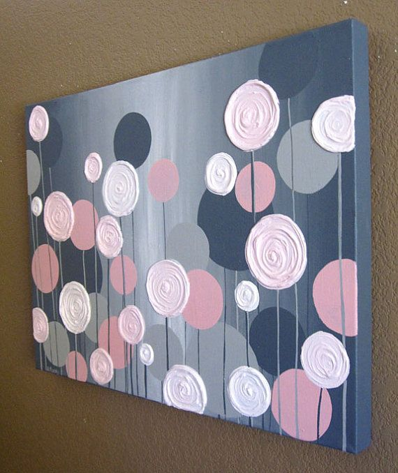 Kids Wall Art, Pink and Grey Textured Flowers, Acrylic Painting on Canvas, Made to Order