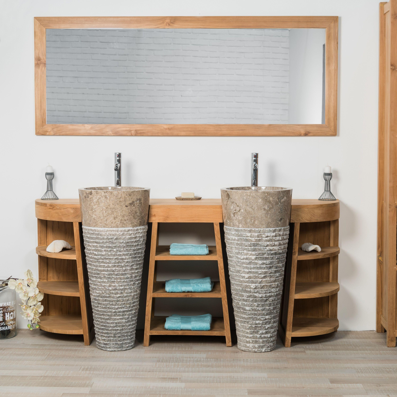 meuble de salle de bain en teck florence double 180cm vasques