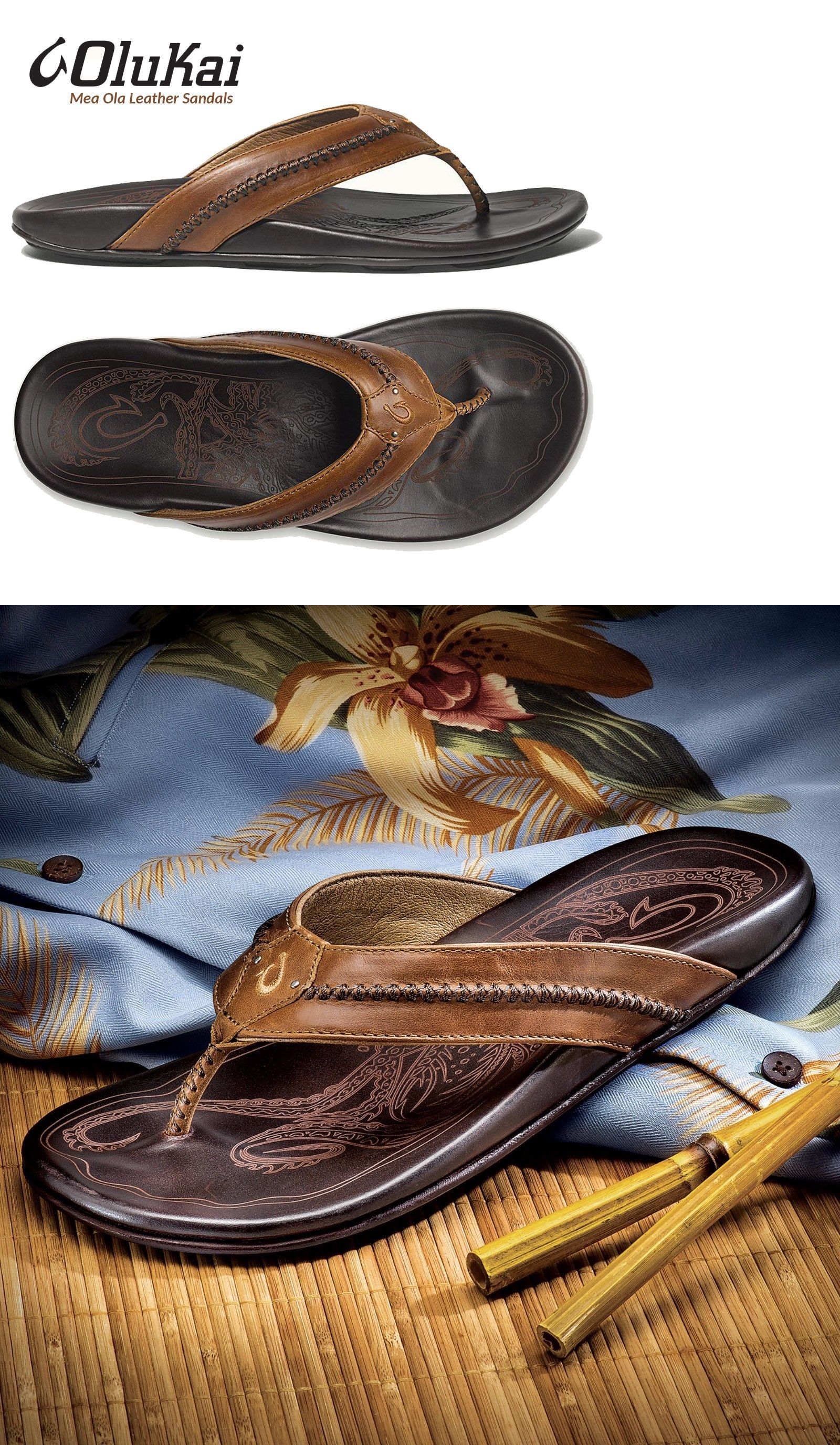 dd70430bd698c Sandals and Flip Flops 11504  Olukai Mea Ola Tan Dark Java Leather Men S Sandals  Premium Quality 8 9 10 11 12 -  BUY IT NOW ONLY   105.6 on eBay!