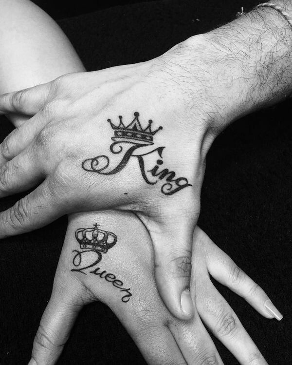 Pin By Theo Martin On Tattoo Ideas Crown Hand Tattoo Crown Tattoo Design Matching Couple Tattoos