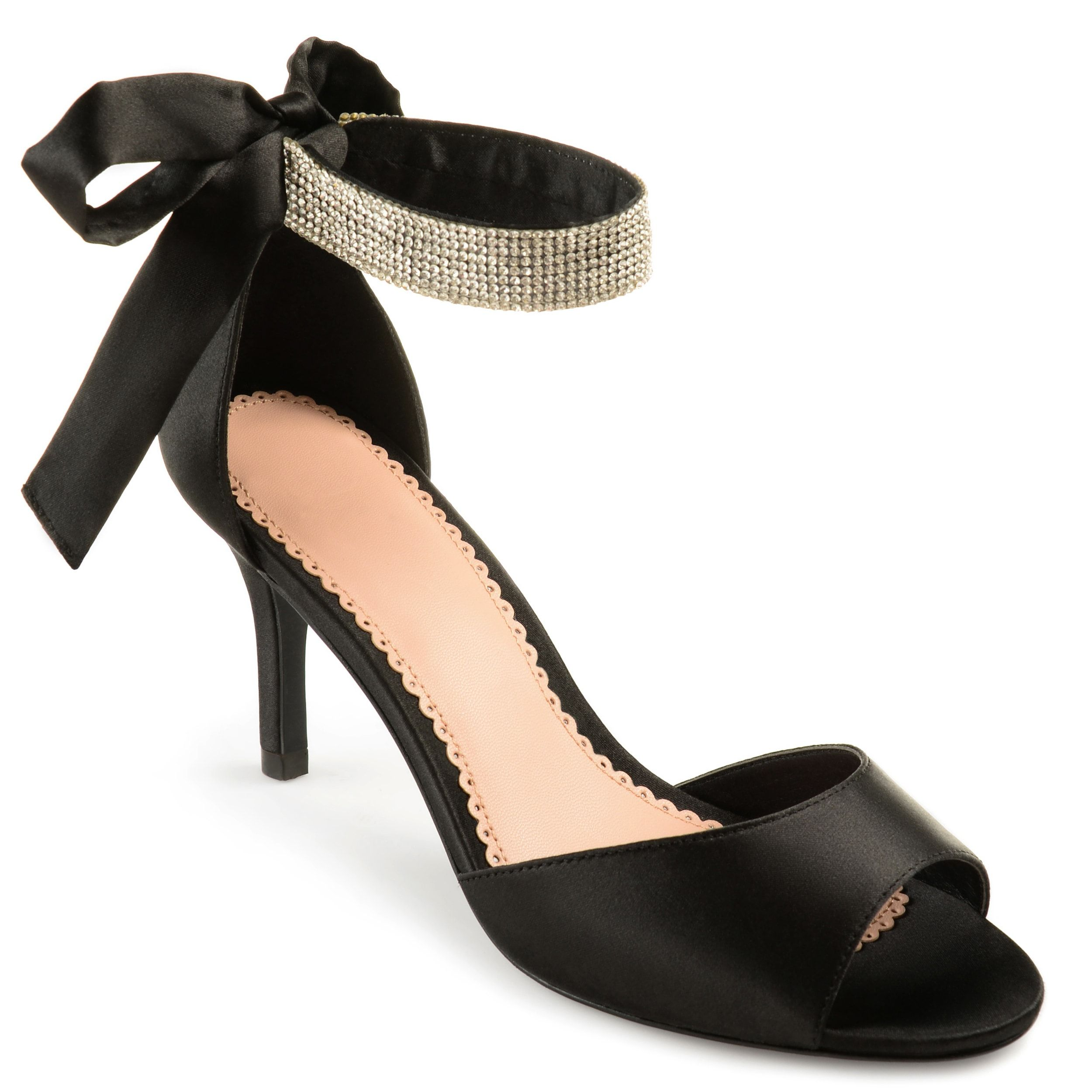 2b9bfccc3 Journee Collection Women's 'Briela' Open-toe Rhinestone Ankle Strap High  Heels (Black- 7.5), Black (satin)