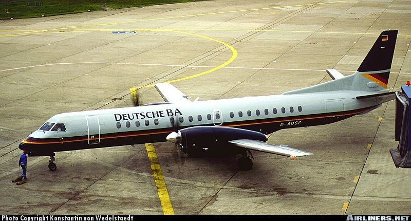 Saab 2000, Deutsche BA, D-ADSC, cn 016, first flight 24.3.1995, Deutsche BA delivered 12.5.1995. Foto: Dusseldorf, Germany, 23.6.1995.
